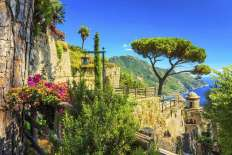 Romantic decoration flowers and ornamental garden,Villa Rufolo,Ravello,Amalfi coast,Italy,Europe