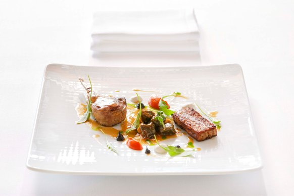 Carre and leg duet of lamb, olive gnocchi with Florina peppers confit and yoghurt